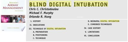 Benumof's Airway Management Blind Digital Intubation