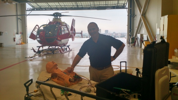 Jim DuCanto visits UW Madison HEMS with his vomiting simulator (SALAD)
